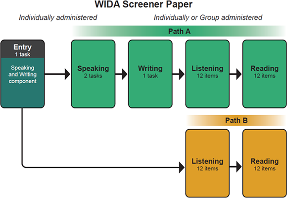 WIDA Screener Paper administration diagram. Path A and Path B.